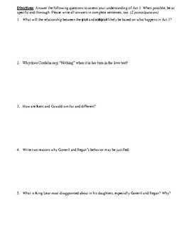 King Lear Act 1 Multiple Choice and Short Answer Quiz
