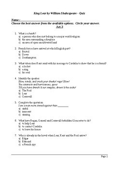 King Lear Act 3 - Multiple Choice Quiz