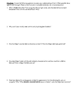 King Lear Act 4 Multiple Choice and Short Answer Quiz