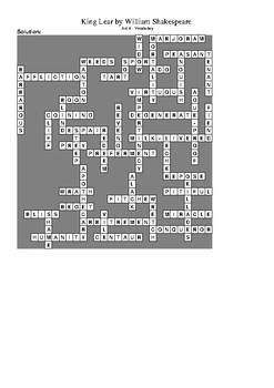 King Lear Act 4 - Vocabulary Crossword