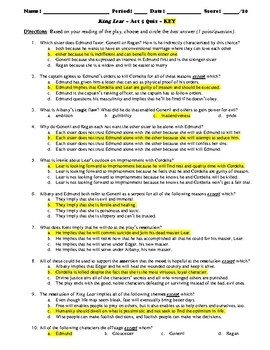 King Lear Act 5 Multiple Choice and Short Answer Quiz