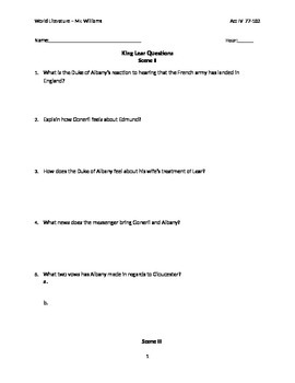 King Lear Act IV with answer key