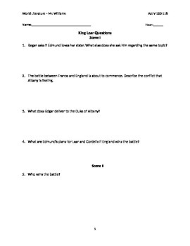 King Lear Act V with answer key