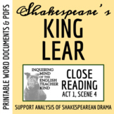 King Lear Close Reading Analysis of Act 1 Scene 4 - Word D