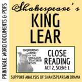 King Lear Close Reading Analysis of Act 2 Scene 1 - Word D
