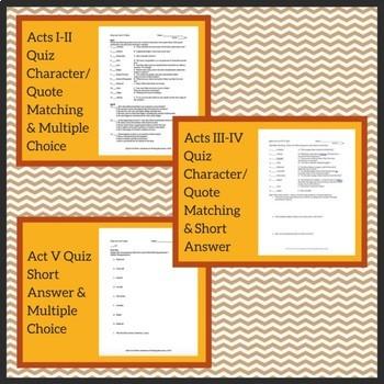 King Lear Quiz Collection - AP Lit, 3 Quizzes at Advanced Levels