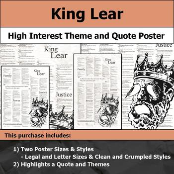 King Lear - Shakespeare - Visual Theme and Quote Poster for Bulletin Boards