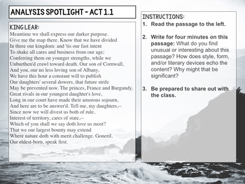 King Lear: Spotlight Analysis Close Reading Prompts