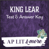 King Lear Test & Answer Key - Short Answer, Quote Analysis & Short Essay