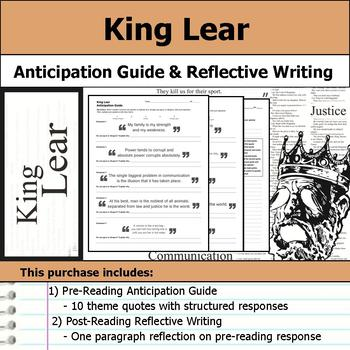 King Lear by William Shakespeare - Anticipation Guide & Reflection