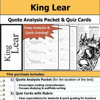 King Lear by William Shakespeare - Quote Analysis & Reading Quizzes