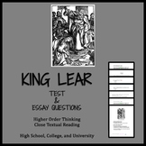 King Lear (test, Qs, and AP® ENGLISH LITERATURE FREE-RESPONSE QUESTION)