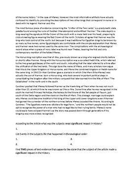 King Menes Article and Assignment