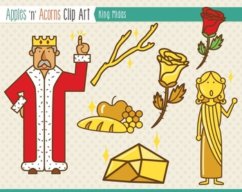 King Midas Clip Art - color and outlines
