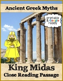 King Midas Greek Myth Reading Passage &Questions - Printable & Google Ready