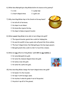 McGraw Hill Wonders - King Midas & the Golden Touch Comprehension Activity