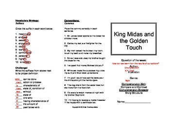 King Midas and the Golden Touch Trifold Activity (Reading Street)