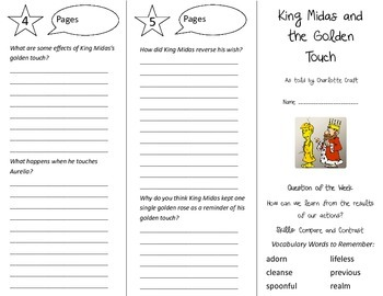 King Midas and the Golden Touch Trifold - Reading Street 5th Grade Unit 6 Week 3