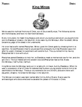 King Minos Description/Article Reading and Homework Assignment