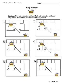 king number  using addition to check subtraction  with regrouping originaljpg
