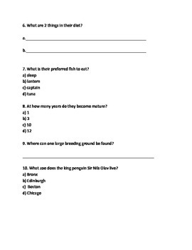 King Penguin Review Article Facts Information Questions Vocabulary word search