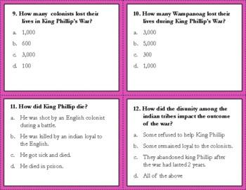 King Phillip's War Task Cards