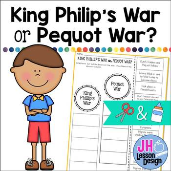King Philip's War or Pequot War? Cut and Paste Sorting Activity