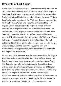 King Raedwald - Sutton Hoo (Anglo-Saxons) Handout