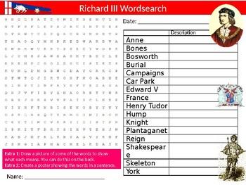 King Richard III Wordsearch Sheet Starter Activity Keywords History Monarch