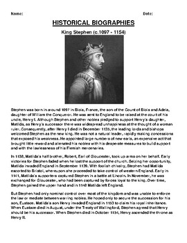 King Stephen Biography Article and (3) Assignments