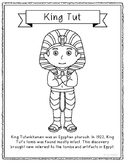King Tut Coloring Page Craft or Poster with Mini Biography, Egyptian, Egypt