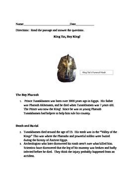 King Tut Comprehension Passage