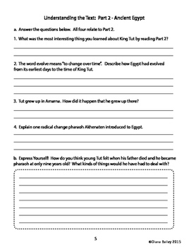 King Tut Biography Informational Texts Activities Grades 4, 5, 6
