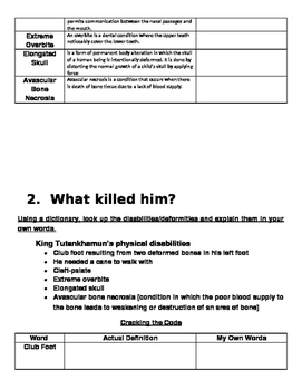 King Tut Mystery Assignment Packet
