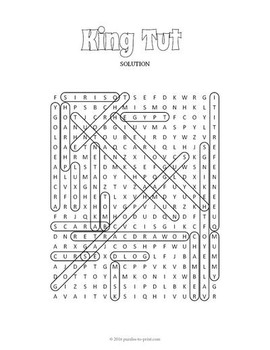 King Tut Word Search Puzzle