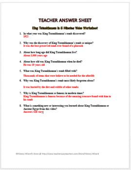 King Tutankhamun in 5 Minutes Video Worksheet