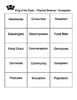 Ecosystem -- Life Science -- Vocabulary