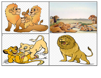 King of the Jungle I-Station Vocabulary Picture Match Task Cards (24 Cards)