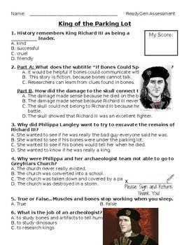 King of the Parking Lot ReadyGen Assessment Grade 4