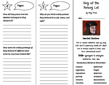 King of the Parking Lot Trifold - ReadyGen 4th Grade Unit 1 Module B