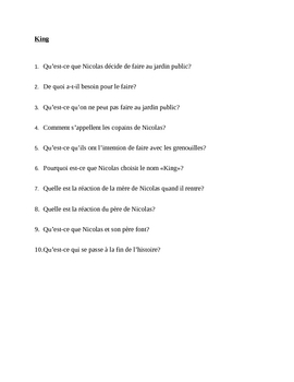 King reading quiz in French