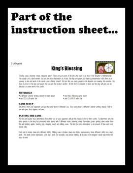 King's Blessing:  A math game about equivalent fractions