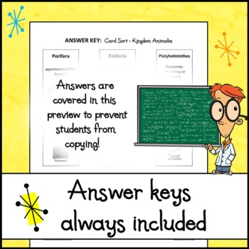 Kingdom Animalia Card Sort Activity with Student Chart