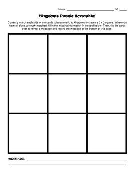 Kingdom Classification Puzzle Scramble