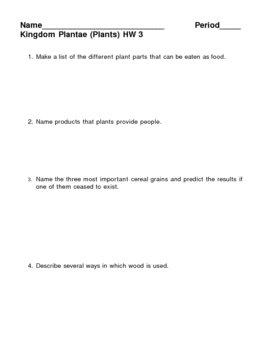 Kingdom Plantae - Plants HW 3