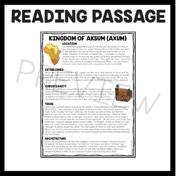 Kingdom of Aksum Reading Comprehension; Ancient Africa; Ethiopia; Eritrea
