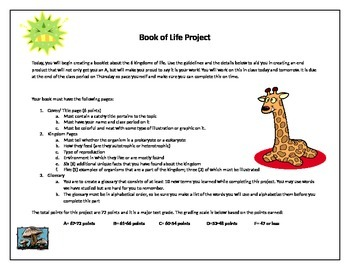 Kingdom of Life Booklet directions and rubric