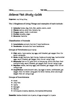 Kingdom of Living Things Test and Study Guide