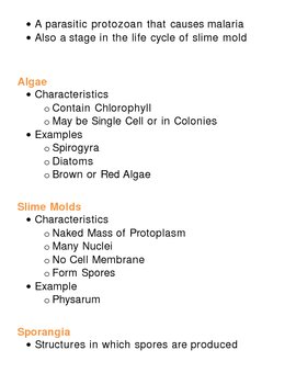 Kingdoms Unit Vocabulary - Monera Fungi Protista Lesson Plan