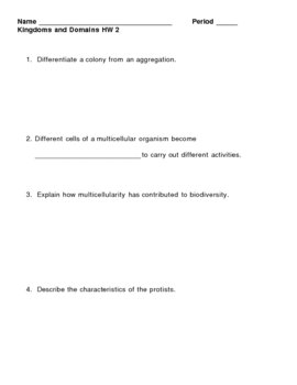 Kingdoms and Domains HomeWork Assignment 2